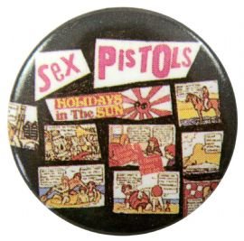 Sex Pistols - 'Holidays in the Sun Black' Button Badge